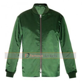 Ellie Goulding Emerald Green Bomber Satin Jacket