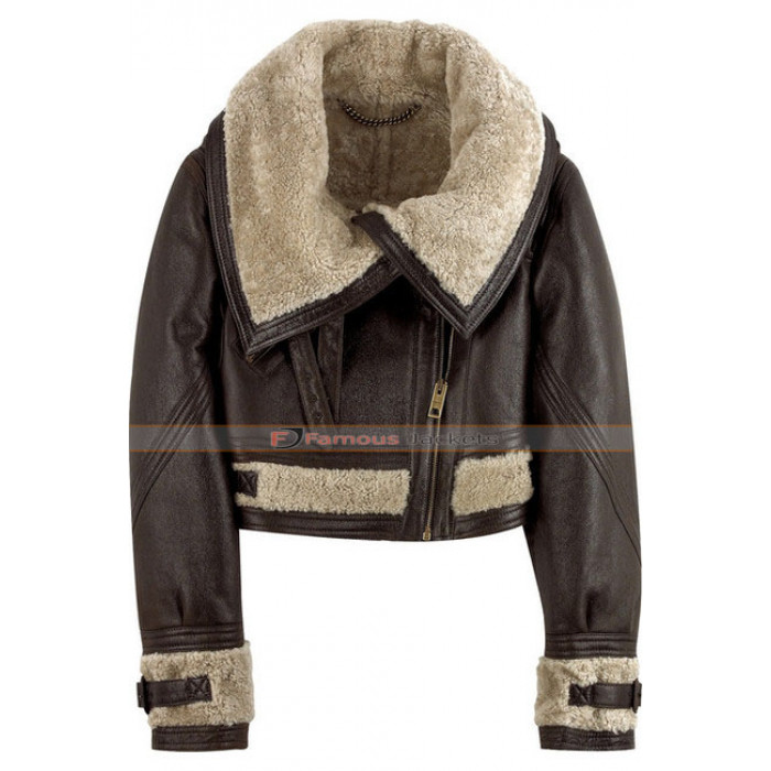 Zoe Burberry Prorsum Cropped Shearling Aviator Jacket