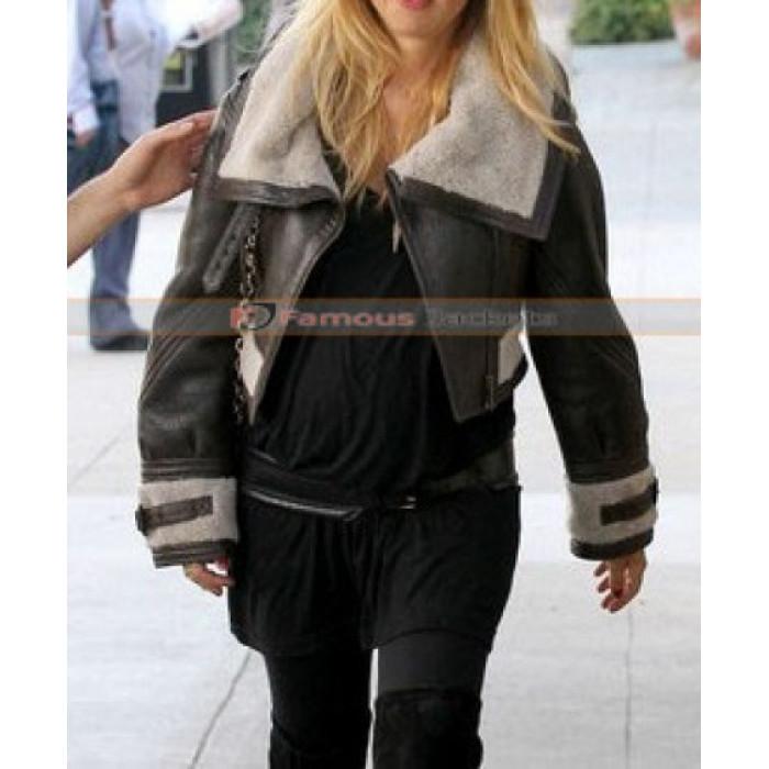 Zoe Burberry Prorsum Cropped Shearling Aviator Jacket