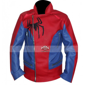 Spiderman Inspired Red/Blue Copslay Leather Jacket