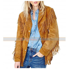 Womens Native American Brown Fringe Leather Jacket