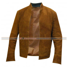 Merlin Colin Morgan Brown Suede Leather Jacket