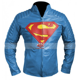 Man of Steel Superman Blue Leather Jacket