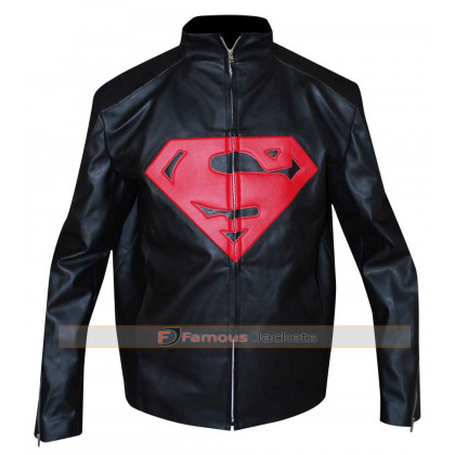 Superman Designer Black Leather Jacket
