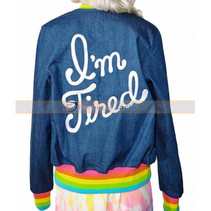 I'm Tired Womens Varsity Blue Bomber Jacket