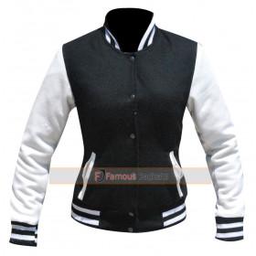 Kim Kardashian White / Black Varsity Bomber Jacket