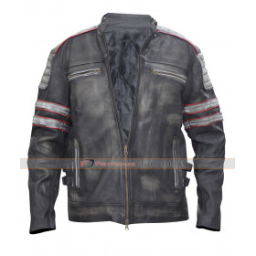 Vintage Retro Motorcycle Leather Jacket