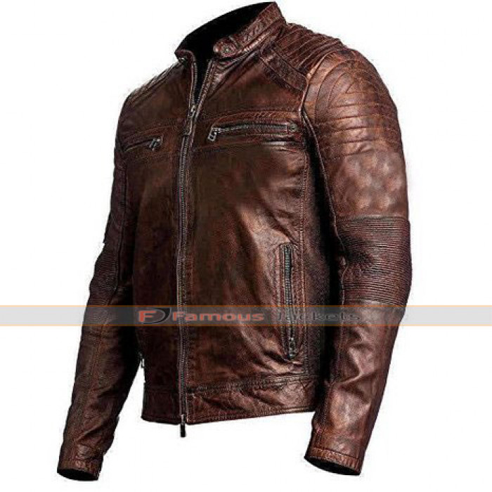 Vintage Cafe Racer Brown Distress Leather Biker Jacket