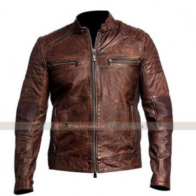 Men's Vintage Cafe Racer Brown Distress Leather Biker Jacket