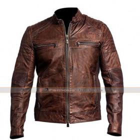 Men's Vintage Cafe Racer Brown Distress Leather Biker Jacket