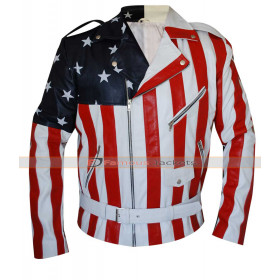 Vanilla Ice American Flag Leather Jacket For Sale