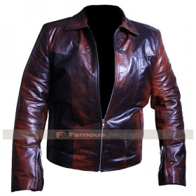 Brown Shaded Vintage Style Biker Leather Jacket