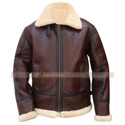 Aviator B3 RAF Pilot Flight WWII Fur Leather Jacket