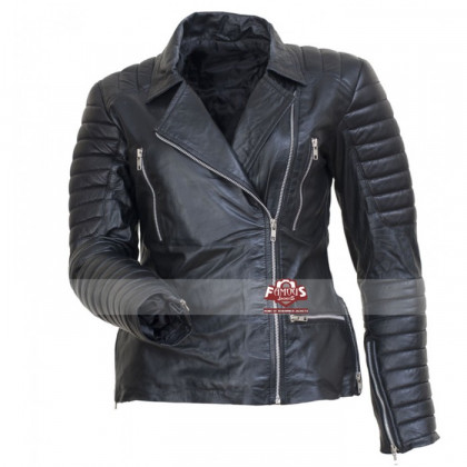 Avril Lavigne Women Quilted Biker Leather Jacket