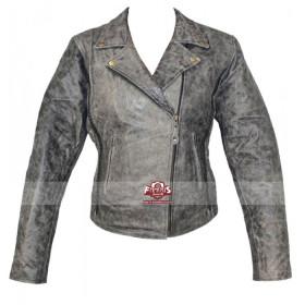 Vulcan Womens Distressed Biker Leather Jacket