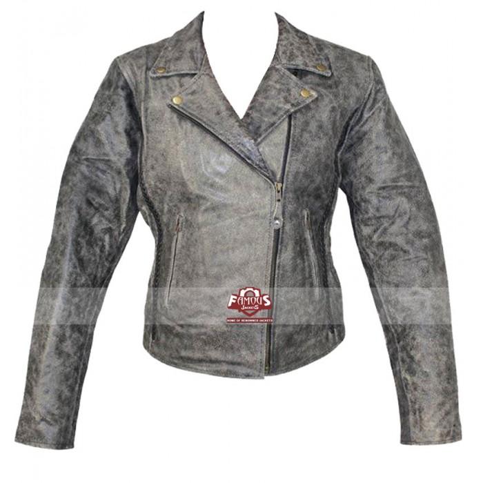 8e9a8f3c5 Vulcan Womens Distressed Biker Leather Jacket