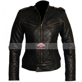 Women Black Quilted Motorcycle Leather Jacket
