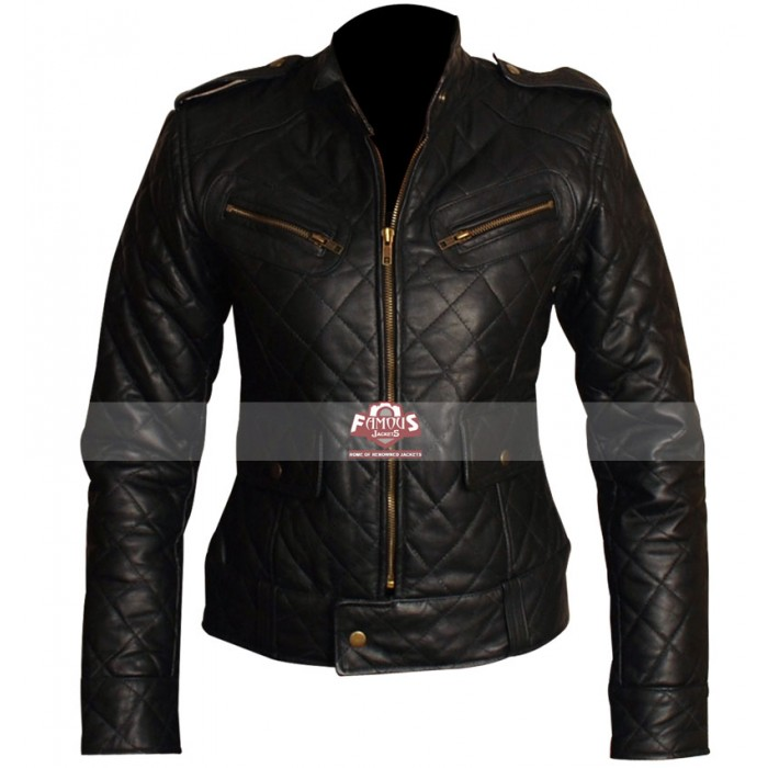 Black Quilted Motorcycle Leather Jacket