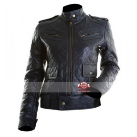 Womens Quilted Bomber Motorcycle Leather Jacket (Black)