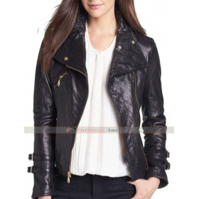 Women's Asymmetrical Black Leather Moto Jacket