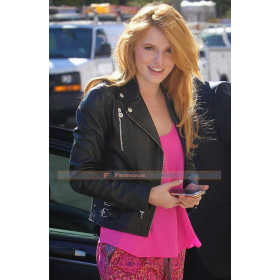 Bella Thorne in Black Biker Style Leather Jacket