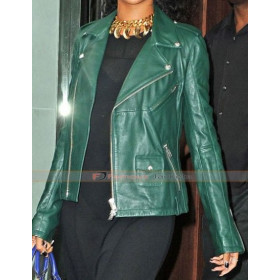 Rihanna Dark Green Leather Biker Style Jacket
