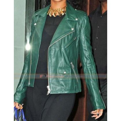 Rihanna Dark Green Leather Biker Style Jacket