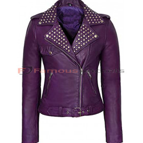 Ladies Purple Studded Biker Jacket