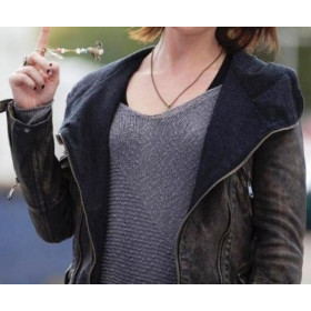 Arthur Newman Emily Blunt (Mike) Hooded Leather Jacket