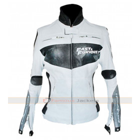 Fast and Furious 7 Women White Leather Jacket