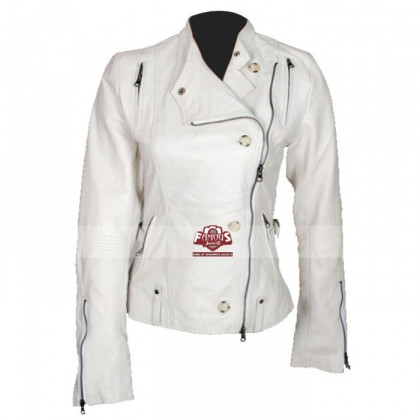 Anne Hathaway Get Smart Agent 99 White Biker Jacket