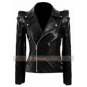 Kate Moss Black Biker Leather Jacket