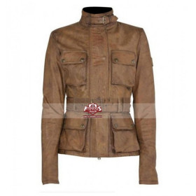 Triumph Brown Women's Belted Biker Jacket