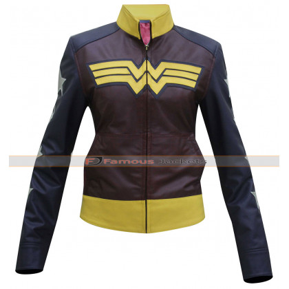 Classy Wonder Woman Motorcycle Leather Jacket Costume