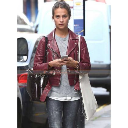 Alicia Vikander Maroon Leather Jacket