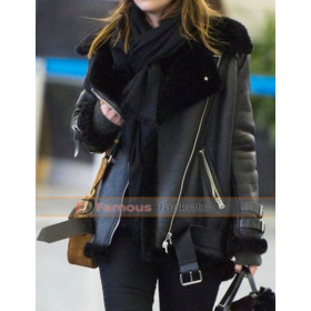 Dakota Johnson Black Leather Fur Bomber Jacket