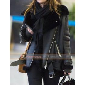 Dakota Johnson Black Leather Fur Bomber Jacket