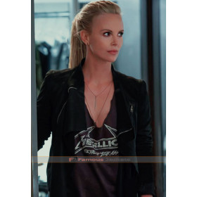 Cipher Fast 8 Charlize Theron Black Leather Jacket