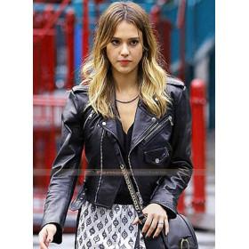 Jessica Alba Black Leather Jacket