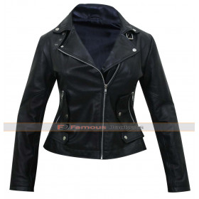 Unforgettable Carrie Wells (Poppy Montgomery) Black Leather Jacket