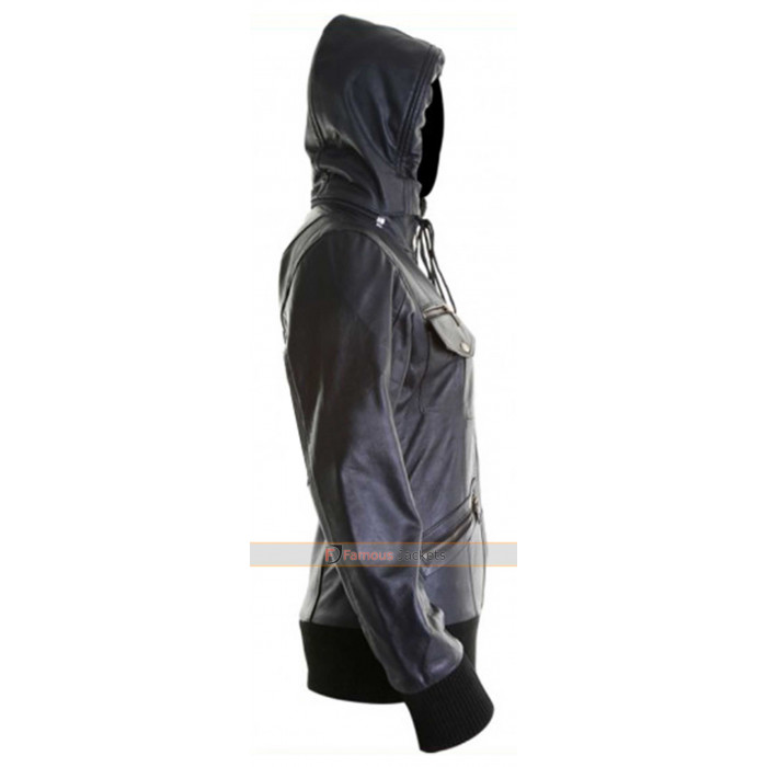 784131eb628 Womens Leather Bomber Jacket With Hood