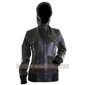 Womens Leather Bomber Jacket With Hood