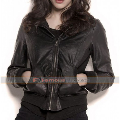 Alexandra Daddario Actress Black Leather Jacket