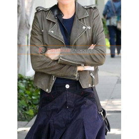 Anna Paquin Olive Green Short Leather Jacket