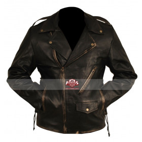 Heavy Duty Motorcycle (Brando) Black Distressed Jacket