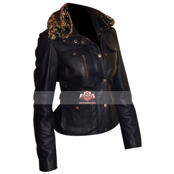 Ladies Fur Collar Slimfit Style Navy Blue Leather Jacket