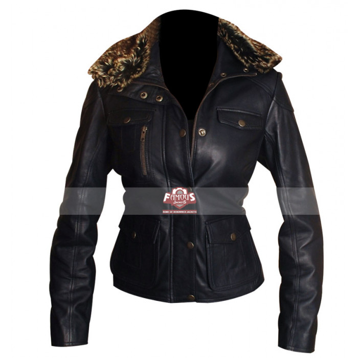 Fur Collar SlimFit Style Navy Blue Leather Jacket