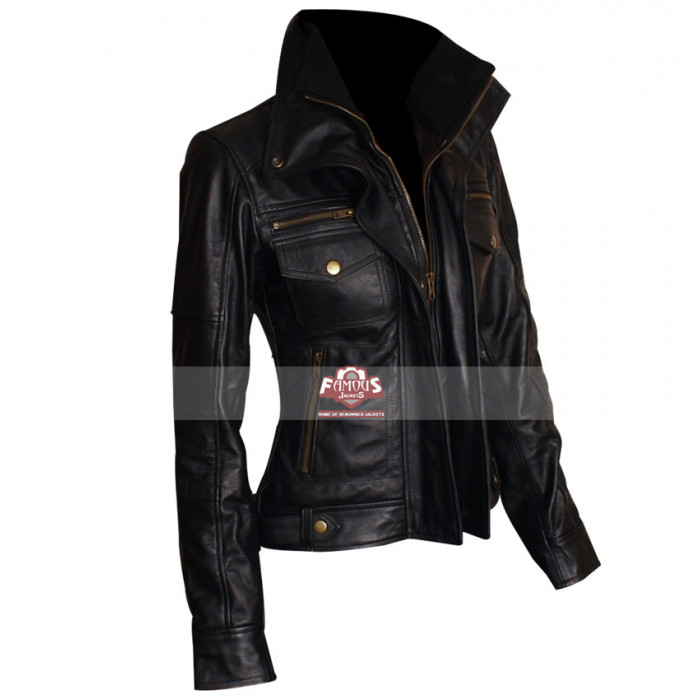 Double collar leather jacket