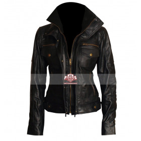 Slim Fit Double Collar Ladies Black Leather Jacket