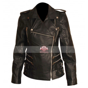 Women Zipper Black Motorcycle Leather Jacket